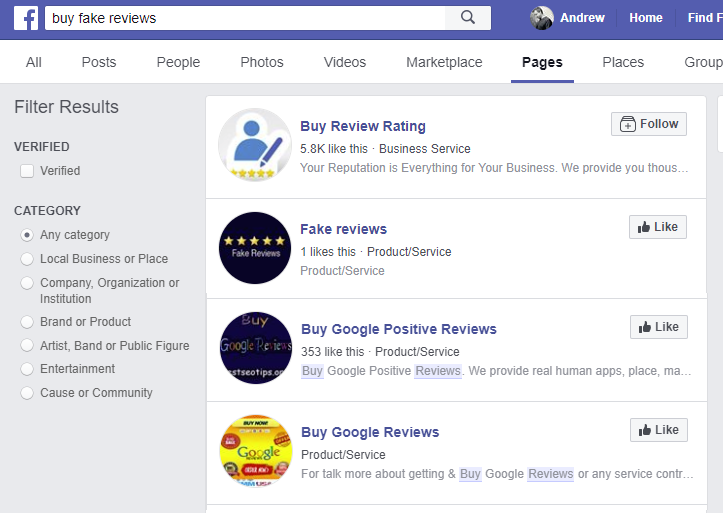 Fake review pages on Facebook