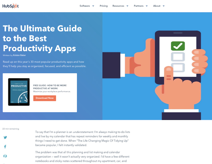 HubSpot pillar page on the ultimate guide to productivity apps