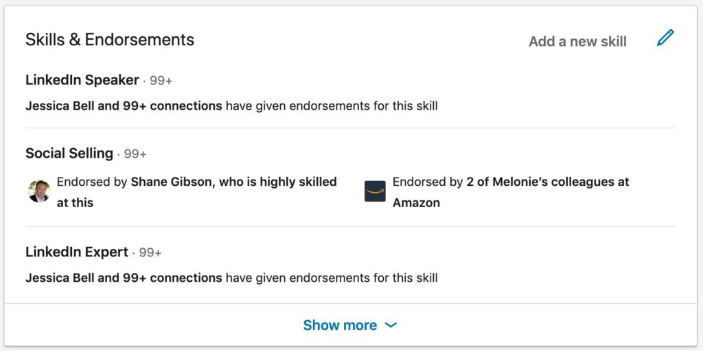 LinkedIn skills and endorsements section