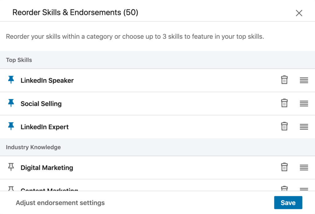 Edit your LinkedIn skills