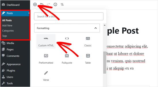 Add Custom HTML Block in WordPress Editor