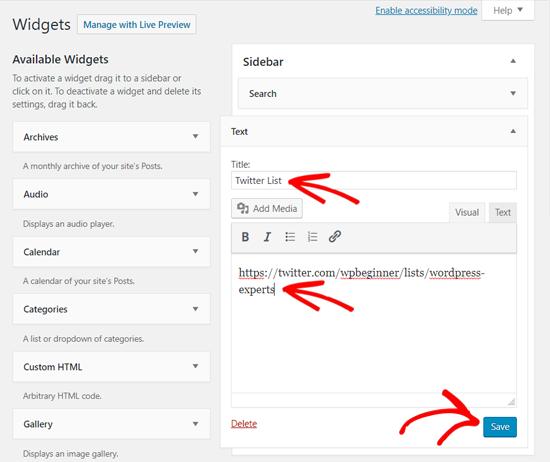 Add Twitter List in WordPress Text Widget