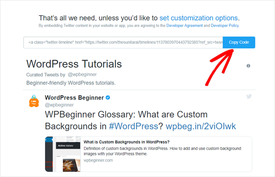 Copy Embed Code for Twitter Collection