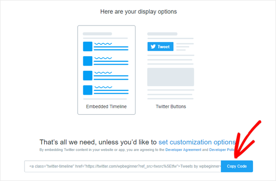 Copy Embed Code for Twitter Profile