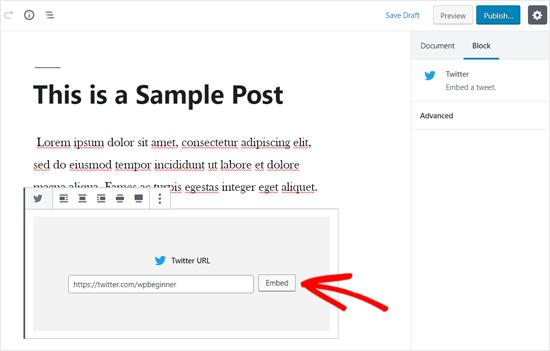 Embed Twitter Timeline in WordPress Post