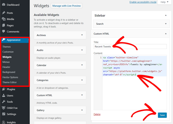 Paste the Twitter Profile Embed Code in Custom HTML widget