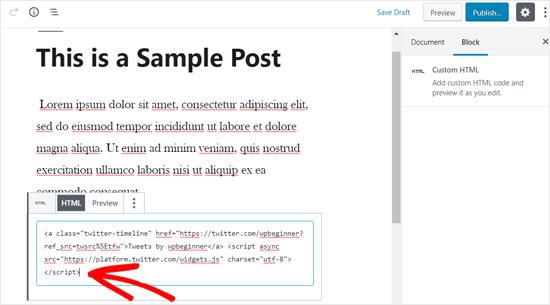 Paste the Twitter profile Embed Code in Custom HTML Block