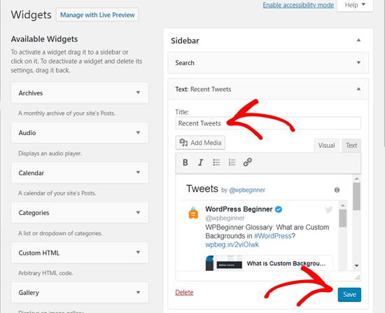 Save Your Recent Tweets Widget in WordPress