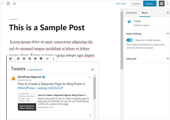 Twitter Profile Embedded in WordPress Post