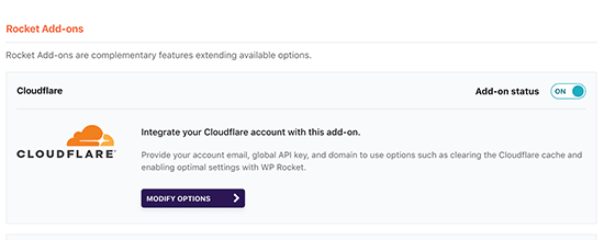 Enabling Cloudflare addon